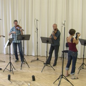 Shooting at a rehearsal of Lanner Quartet.